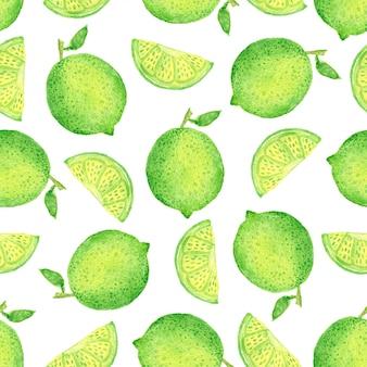 Modèle sans couture aquarelle citron vert