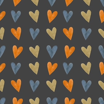 Modèle sans couture aquarelle coeur
