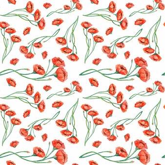 Modèle sans couture aquarelle coquelicots rouges vintage