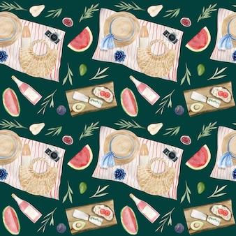 Modèle sans couture aquarelle dessiné main d'éléments de pique-nique d'été. nourriture, manger.
