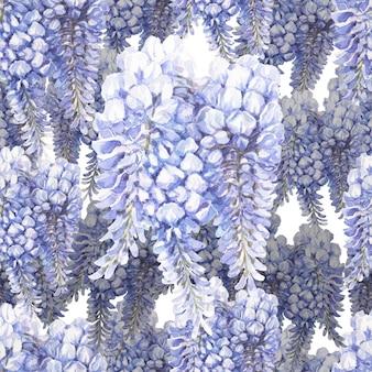 Modèle sans couture aquarelle dessiné main fleurs bleues et bleues