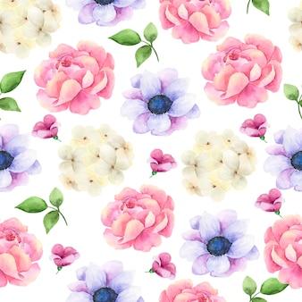Modèle sans couture aquarelle dessiné de main avec des fleurs.