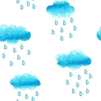 Modèle sans couture aquarelle dessiné à la main avec des nuages et des gouttes de pluie