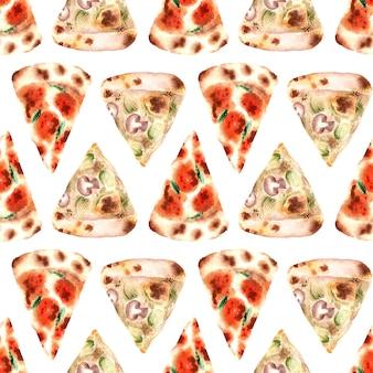 Modèle sans couture aquarelle avec différents types de pizza fraîche