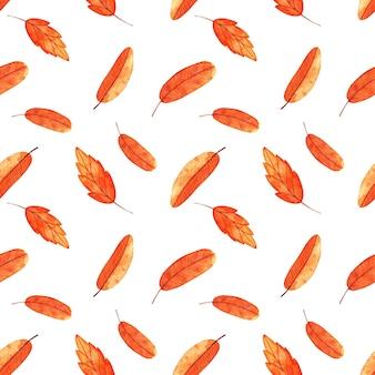 Modèle sans couture aquarelle avec des feuilles d'automne orange