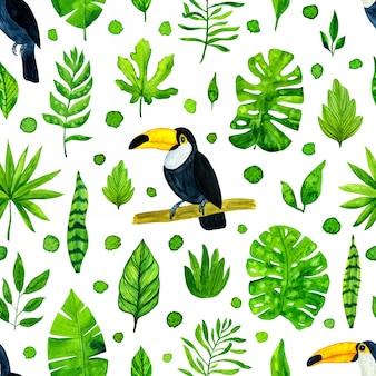 Modèle sans couture aquarelle feuilles tropicales et toucans