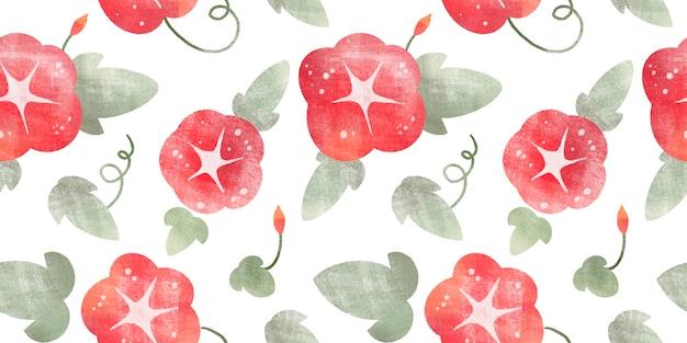 Modèle sans couture aquarelle avec des feuilles vertes de tomate fleurs en fleurs isolées sur fond blanc
