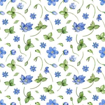 Modèle sans couture aquarelle avec fleur d'hepatica nobilis sur fond blanc