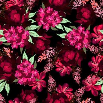 Modèle sans couture aquarelle avec des fleurs de roses, de pivoine et d'hortensia. illustration
