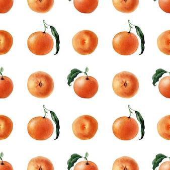 Modèle sans couture aquarelle de fruits, de brindilles et de tranches de mandarine