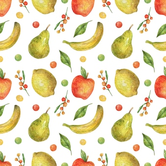 Modèle sans couture aquarelle de fruits lumineux (pomme, banane, poire, citron). nourriture saine. vegan. vitamines.