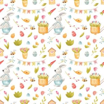 Modèle sans couture aquarelle avec illustration d'enfants de printemps de lapin de pâques avec des oeufs fleurs oiseaux abeilles pour fête invintation enfants décor scrapbooking numérique carte fabrication emballage de papeterie