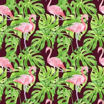Modèle sans couture aquarelle illustration de feuilles tropicales et flamant rose.