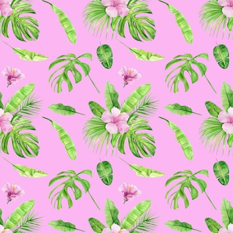 Modèle sans couture aquarelle illustration de feuilles tropicales et hibiscus de fleurs.