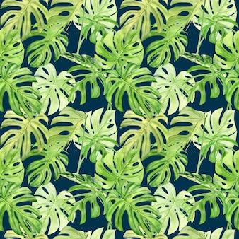 Modèle sans couture aquarelle illustration de monstera feuille tropicale.