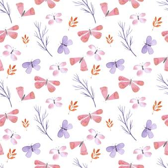 Modèle sans couture aquarelle avec des lièvres, des papillons et des brindilles de plantes