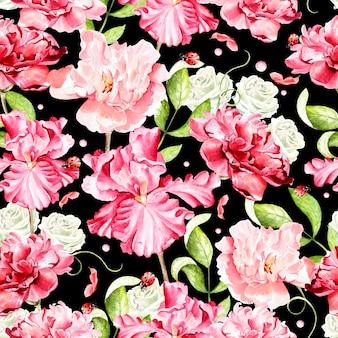 Modèle sans couture aquarelle lumineux avec des fleurs d'iris, rose, pivoine