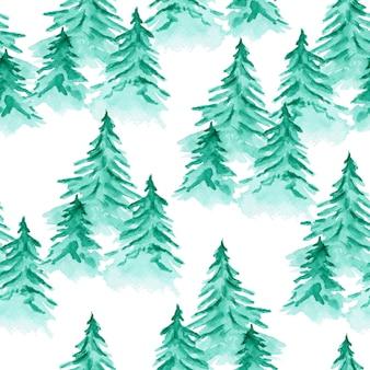 Modèle sans couture aquarelle mignon avec sapins conifères vert émeraude