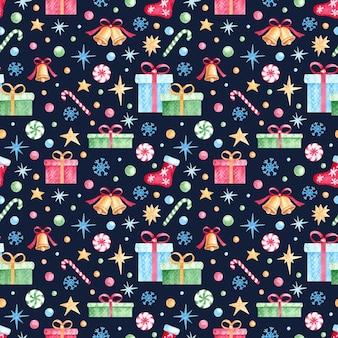 Modèle sans couture aquarelle noël et nouvel an pour papier d'emballage, tissu, textile, cartes postales.