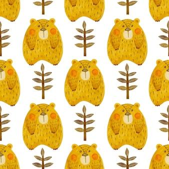 Modèle sans couture aquarelle d'ours de branches
