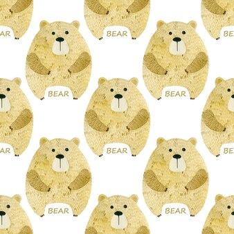 Modèle sans couture aquarelle ours
