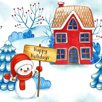 Modèle sans couture aquarelle paysage d'hiver bonhomme de neige