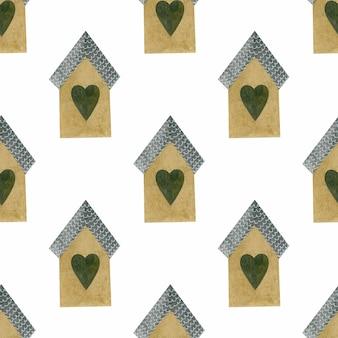 Modèle sans couture aquarelle petites maisons