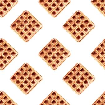 Modèle sans couture aquarelle avec des plaquettes de différentes formes. gaufres coeur, gaufres carrées