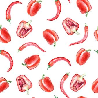 Modèle sans couture aquarelle avec poivrons rouges