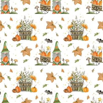 Modèle sans couture aquarelle pour joyeux halloween automne bonjour octobre
