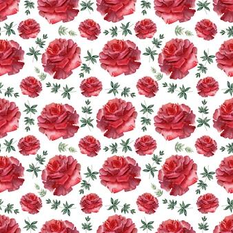 Modèle sans couture aquarelle rose écarlate festive