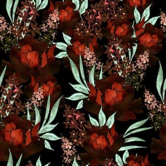 Modèle sans couture aquarelle avec des roses et des fleurs de pivoine. illustration