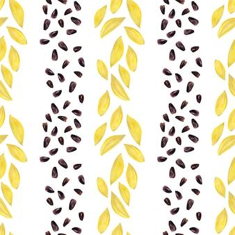 Modèle sans couture aquarelle avec tournesols lumineux, feuilles et bourgeons de la plante