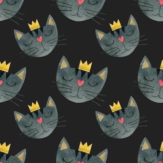 Modèle sans couture aquarelle de visages de chats dans une couronne fond aquarelle de chats