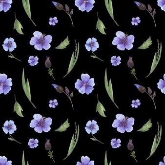 Modèle sans couture avec aquarelles fleurs et herbes et fond noir