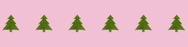 Modèle sans couture avec des arbres de noël verts sur fond rose. nouvel an et concept de noël. bannière grand format