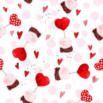 Modèle sans couture artistique avec des coeurs dessinés à la main aquarelle isolés sur fond blanc. dessin de peinture. amour et thème romantique.