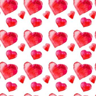 Modèle sans couture artistique avec des coeurs dessinés à la main aquarelle isolés sur fond blanc. dessin de peinture. bon pour la conception de cartes de saint valentin, papier d'emballage. amour et thème romantique.