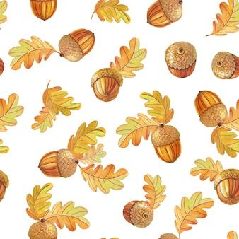 Modèle sans couture automne avec des feuilles de chêne colorées et des glands sur un fond sombre.