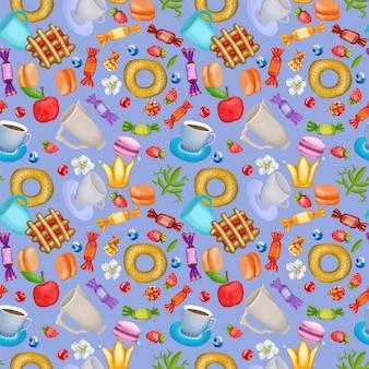 Modèle sans couture avec des baies, des bonbons et des fleurs