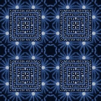 Modèle sans couture bleu dans un style oriental. couleurs indigo denim blanc. imprimé bohème.