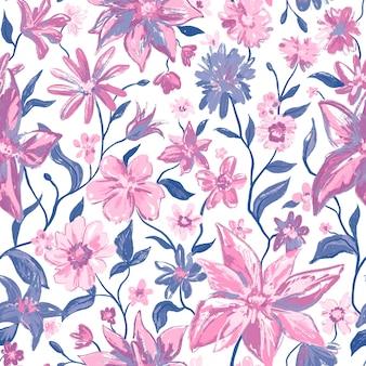 Modèle sans couture botanique floral avec des fleurs colorées et des feuilles dans des couleurs gris roses.