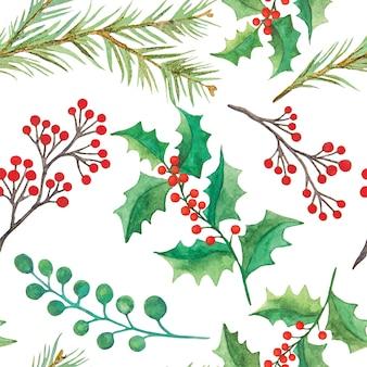 Modèle sans couture botanique de noël décoratif aquarelle