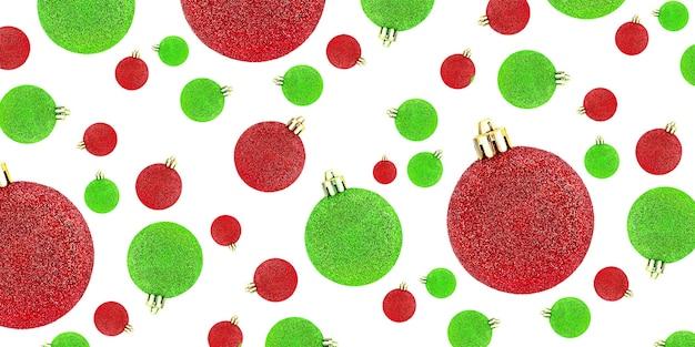 Modèle sans couture avec boules décoratives rouges et vertes de noël