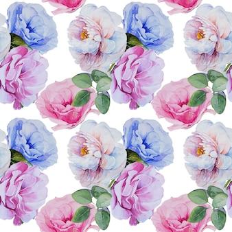 Modèle sans couture de bouquets de fleurs peintes à la main aquarelle.