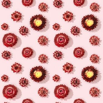 Modèle sans couture avec bourgeon gros plan de petites fleurs sèches de fleurs rouges sur rose