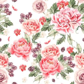 Modèle sans couture brillant avec des fleurs de pivoine, des roses et des mûres. illustration