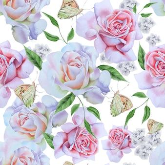 Modèle sans couture brillant avec des roses et des papillons. illustration aquarelle. dessiné à la main