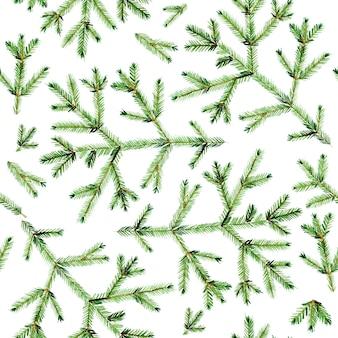 Modèle sans couture avec des brindilles de sapin vert aquarelle sur fond blanc
