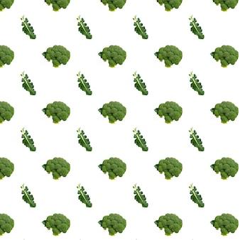Modèle sans couture de brocoli isolé sur fond